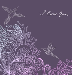 Valentines card with floral ornament and birds vector image vector image
