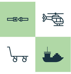 Vehicle icons set collection of safety belt vector
