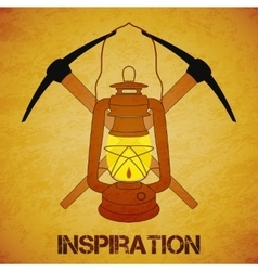 Vintage mine kerosene lantern with picks vector