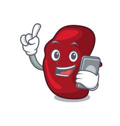 With phone spleen character cartoon style vector