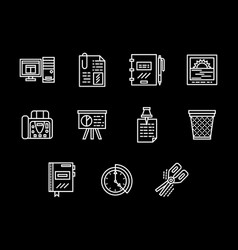 workplace white line icons set vector image