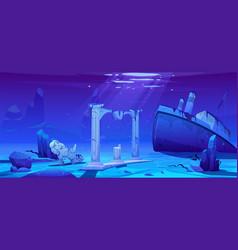 wreck ship sunken steamboat on ocean sandy bottom vector image