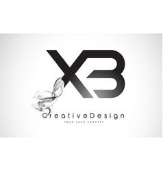 Xb letter logo design with black smoke vector