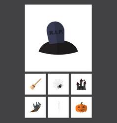 flat icon celebrate set of broom zombie skeleton vector image