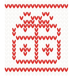 Knitted pattern with gift box vector image