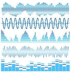 set of blue sound waves vector image
