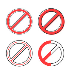 set of red prohibition sign vector image vector image