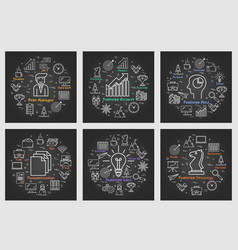 six black business square banners - idea strategy vector image vector image