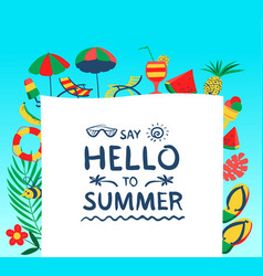 summer background with beach objects vector image vector image