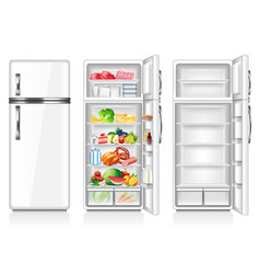 full and empty fridge isolated on white vector image vector image