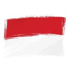 grunge indonesia and monaco flag vector image