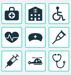 medicine icons set collection of injection vector image