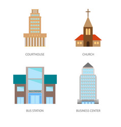 set of urban buildings in a flat style courthouse vector image vector image