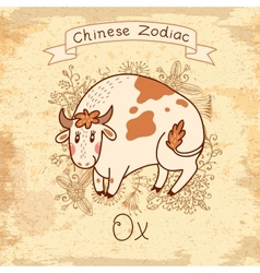 Vintage card with Chinese Zodiac - Ox vector image vector image
