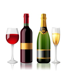 wine and champagne vector image vector image