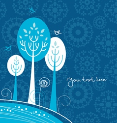 Winter cartoon background with trees and birds vector image vector image