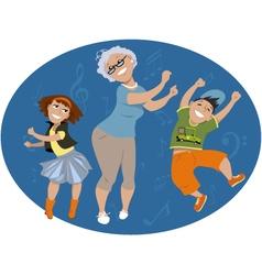 Dancing with grandma vector image