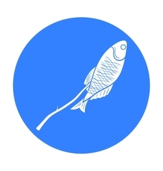 Fried fish icon in black style isolated on white vector image