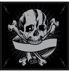Skull bone cross and Ribbon vector image