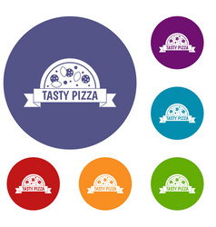 tasty pizza sign icons set vector image vector image