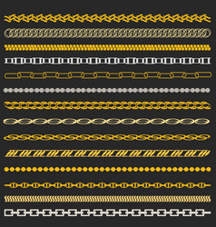chain gold and silver set vector image vector image