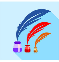 feather and ink sizes icon flat style vector image