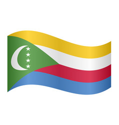 flag of comoros waving on white background vector image vector image