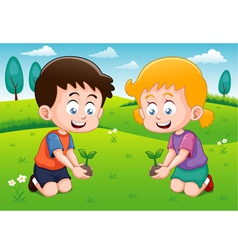 Little kids is planting small plant in garden vector image vector image