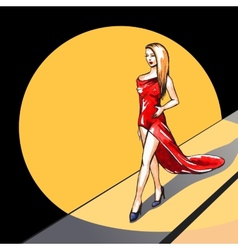 Model on the runway - vector image