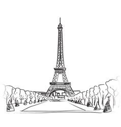 paris city landscape famous landmark eiffel tower vector image vector image