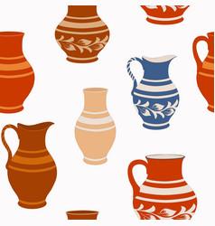 seamless pattern from ceramic crockery vector image