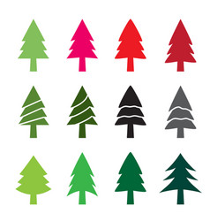 set of christmas tree in silhouette style vector image vector image