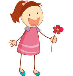 a doodle kid holding flower cartoon character vector image