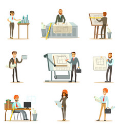 Architect profession set of vector