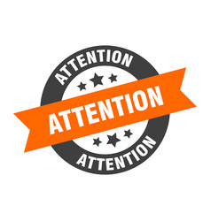 attention sign attention orange-black round vector image