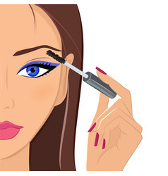 attractive woman applying mascara fashion makeup vector image