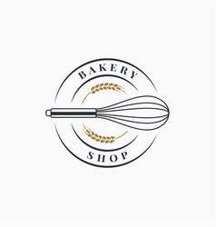 bakery shop logo whisk on white background vector image