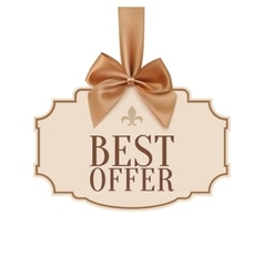 Best offer banner with golden ribbon vector