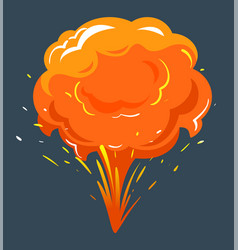 big explosion bright bang with orange cloud vector image