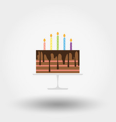 birthday cake with candles happy birthday icon vector image