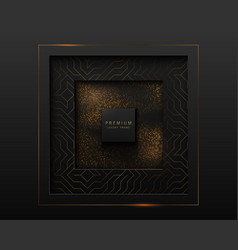 Black and gold abstract square luxury frame vector