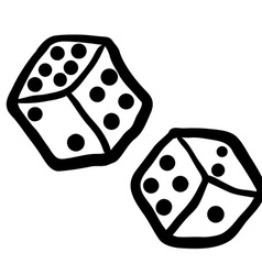 Black and white freehand drawn dices vector
