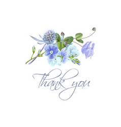 Blue flower thank you card vector