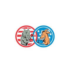 Boxing Democrat Donkey Versus Republican Elephant vector