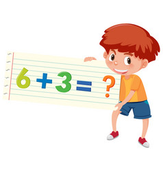 Boy holding math question addition vector