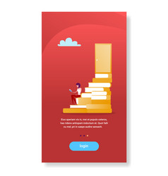 Businesswoman sitting book stack stairs to door vector