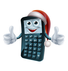 Calculator math christmas character vector