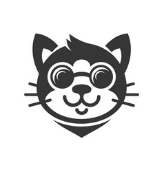 cat in glasses cartoon face icon vector image