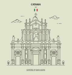 cathedral santa agatha in catania italy vector image