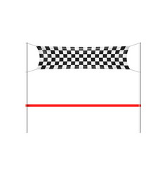 checkered finish line banner with red ribbon vector image